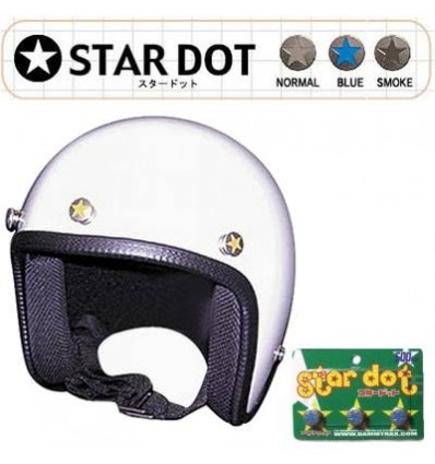 Set 3 bottoni da casco Star Dot con grafica in vari colori