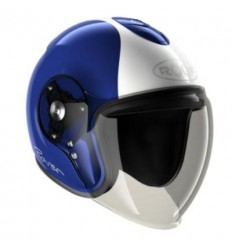 Casco Roof New Rover grafica Legend blu e bianco perla