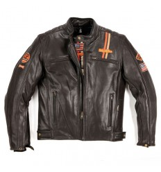 Giacca da moto in pelle Helstons Force USA vintage marrone