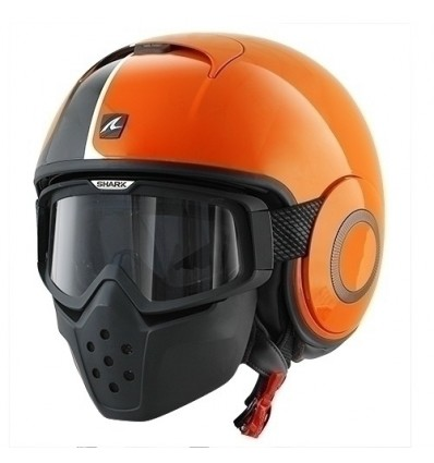 Casco Shark Raw grafica Stripe arancio e nero