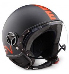 Casco Momo Design Fighter Fluo nero opaco e arancio