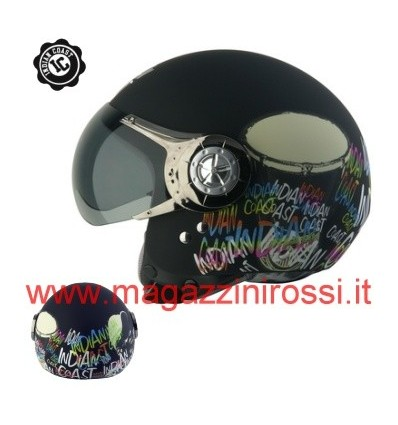 Casco Indian Coast grafica Drum&Bass nero opaco