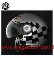 Casco Indian Coast grafica Black Flag argento e nero