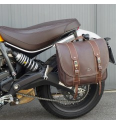 Borsa laterale MCJ Business in pelle marrone per Ducati Scrambler