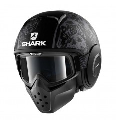 Casco Shark Drak grafica Sanctus nero opaco e antracite