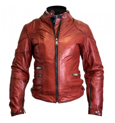 Giacca donna da moto in pelle Helstons Pat rossa